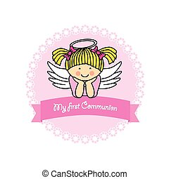 komunia, karta, dziewczyna, pierwszy