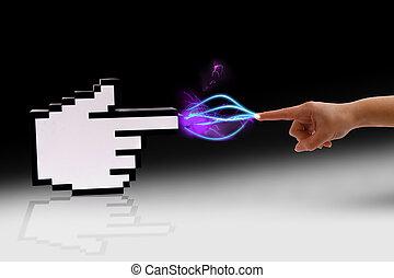 komunikace, lidský, cyber