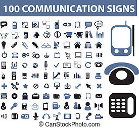 komunikace, podpis, 100