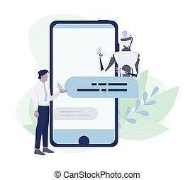 komunikacja, chatbot, klient, support., concept., służba