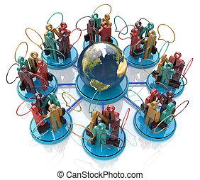 komunikacja, concept., globalna sieć, towarzyski