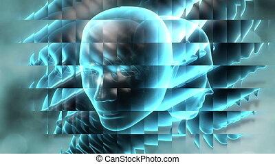 komunikacja, głowa, -, surrealistyczny