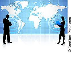 komunikacja, globalny, biznesmen, kobieta interesu