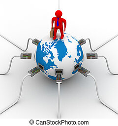 komunikacja, globalny, world., image., 3d