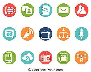 komunikacja, guzik, komplet, okrągły, ikony