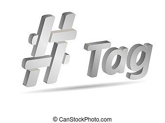 komunikacja, hashtag, znak