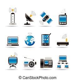 komunikacja, i, ikony technologii