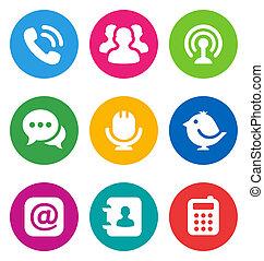 komunikacja, ikony, kolor