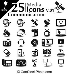 komunikacja, ikony, v.01