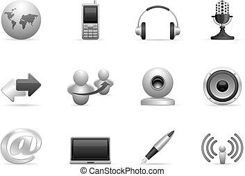 komunikacja, komplet, ikony