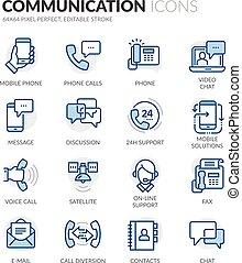 komunikacja, kreska, ikony