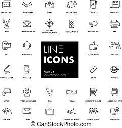 komunikacja, kreska, set., ikony