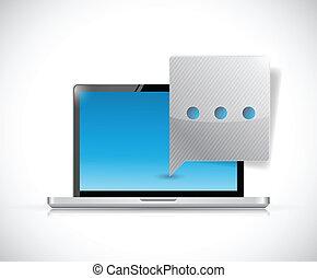 komunikacja, laptop, mowa, ilustracja, bubble.