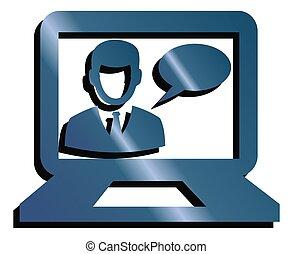 komunikacja, laptop, technologia, ikona