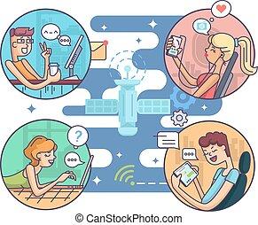 komunikacja, ludzie, odległość