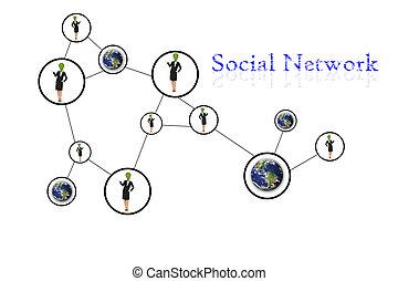 komunikacja, ludzie, sieć, towarzyski