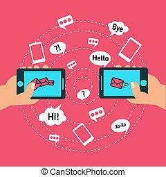 komunikacja, mądry, telefon