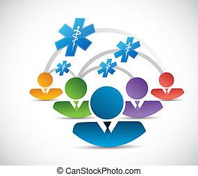 komunikacja, medyczne pojęcie, symbol, ludzie