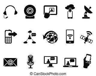 komunikacja, nowoczesny, komplet, ikony
