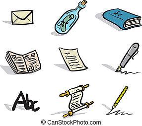 komunikacja, pisemny, ikony