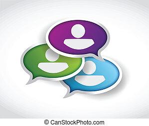 komunikacja, pojęcie, ilustracja, ludzie