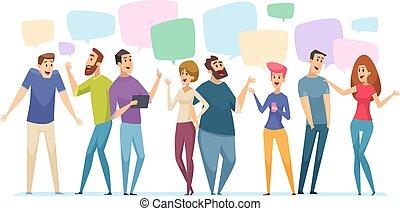 komunikacja, pojęcie, rozmowa, dialog, osoby, ludzie, bańka, uzmysłowienie, mowa, wektor, conversation.