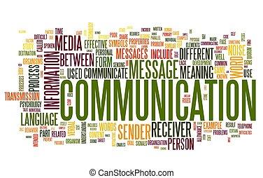 komunikacja, pojęcie, słowo, chmura, skuwka