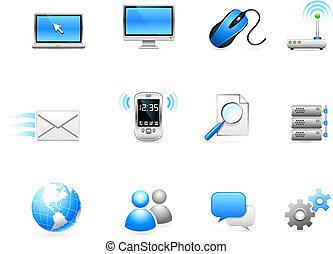 komunikacja, technologia, zbiór, ikona