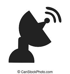 komunikacja, temat, ikona, antena, design.