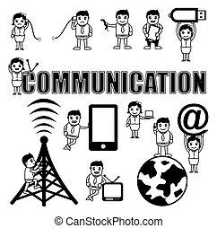 komunikacja, vectors, rysunek, pojęcia