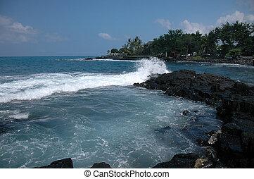 kona, éclaboussure, hawaï