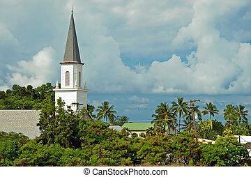 kona, cielna, mokuaikaua, wyspa, hawaje, kościół