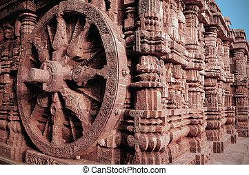Magnificient craftsmanship at sun temple at Konark India