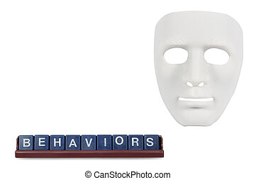 koncepcja, podobny, maski, ludzki, biały, zachowanie