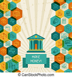 konceptualny, bankowość, handlowy, tło.