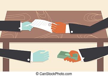konceptualny, cartoon., ilustrator, korupcja, rysunek