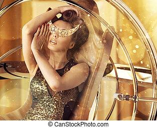 konceptualny, czarowny, fotografia, kobieta