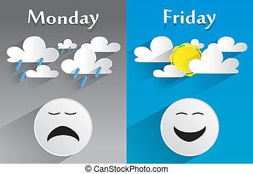 konceptualny, czuły, poniedziałek, piątek