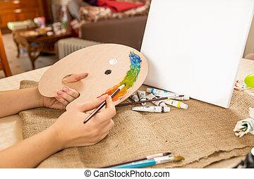 konceptualny, dom, strzał, rysunek, hobby