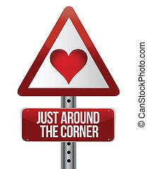 konceptualny, droga znaczą, na, miłość