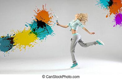 konceptualny, fotografia, ściany, kobieta, malarstwo