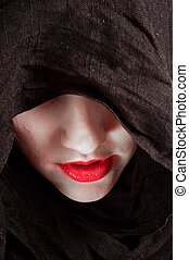 konceptualny, fotografia, kobieta, kaptur