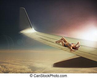 konceptualny, fotografia, kobieta, podróżowanie