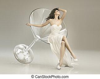 konceptualny, fotografia, kobieta, szkło