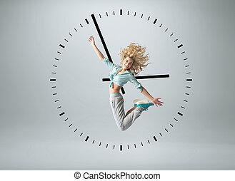konceptualny, fotografia, ludzki, zegar