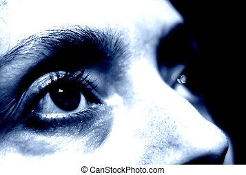 konceptualny, fotografia, samica, eye.