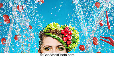 konceptualny, obraz, warzywa, przelotny