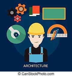 konceptualny, projektować, architektura, ilustracja