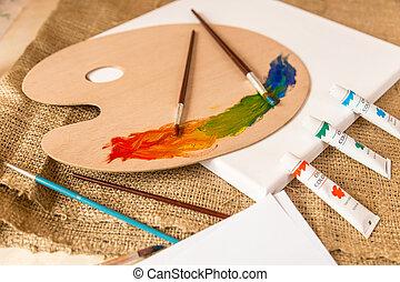 konceptualny, strzał, od, nieporządek, na, pracujący, stół, na, artysta, studio
