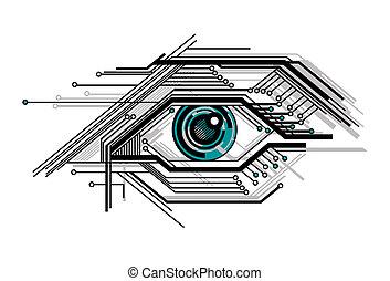 konceptualny, stylizowany, tech, oko